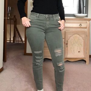 A.N.A. Olive Distressed Jeggings